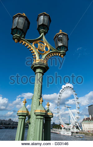 Ornate street lamppost in Westminster, London, England, UK - Stock Photo