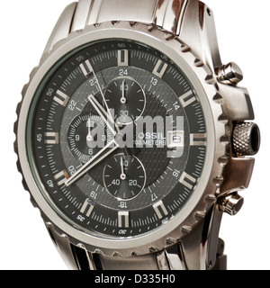 Fossil Blue CH-2446 stainless steel 100m water resistant wristwatch - Stock Photo