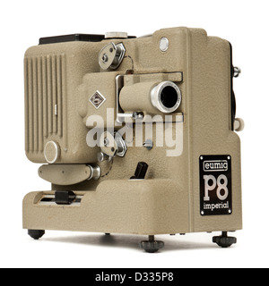 1958 Eumig P8 Imperial 8mm film / movie projector with Eupronar 20mm f/1.4 lens and built-in tape synchroniser - Stock Photo
