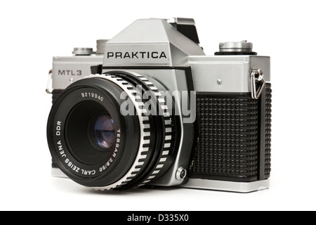 Vintage late 1970's Praktica MTL3 single lens reflex (SLR) 35mm film camera, made by Pentacon in East Germany (DDR) - Stock Photo