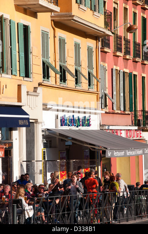 Bistro next to Marina in the Old port of Nice France - Stock Photo