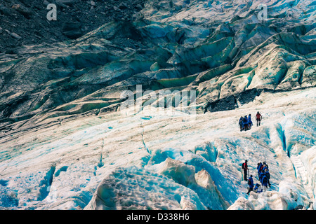 Amazing blue glacier landscape at Franz Josef Glacier, South Island, New Zealand. - Stock Photo