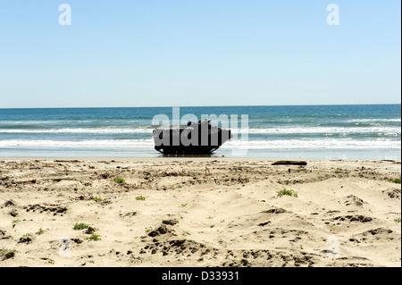 U.S. Marine Corp Amphibious Assault Vehicle AAV on a training beach - Stock Photo