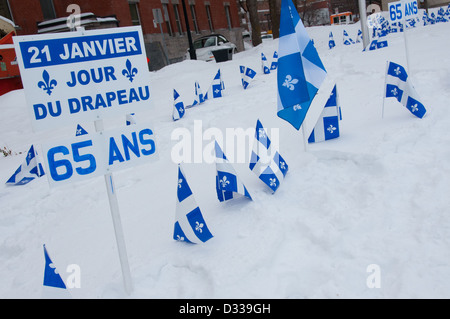 Montreal, Quebec : 21 st January is Fleurdelisé day ( the Quebec flag day) . More information in the description - Stock Photo