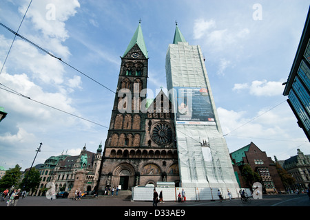 St Peter's Cathedral being renovated in 2009, Bremen, Germany - Stock Photo