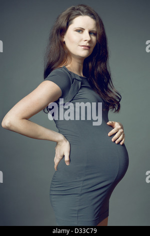 Beautiful young expecting mother with long dark hair. - Stock Photo