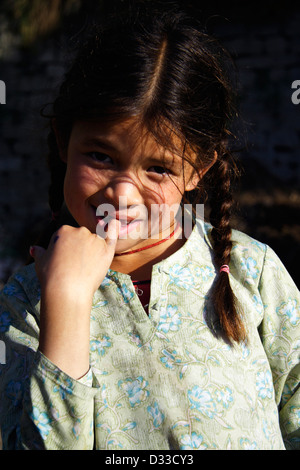 Indian girl portrait, aged 8 to 11. Nagar, Himachal Pradesh, India - Stock Photo
