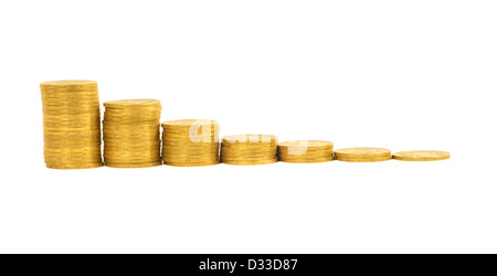 graph of the columns of coins isolated on white background - Stock Photo