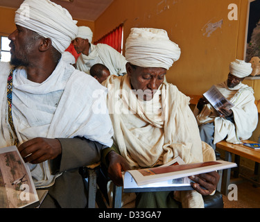 Orthodox Christian Priests gather at a conference on the conservation of church forests in Ethiopia. Africa - Stock Photo
