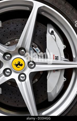 Wheel on Ferrari 458 Italia, Thruxton, UK, 03 08 2010 - Stock Photo