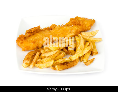 Plate of traditional take-away fish and chips - Stock Photo
