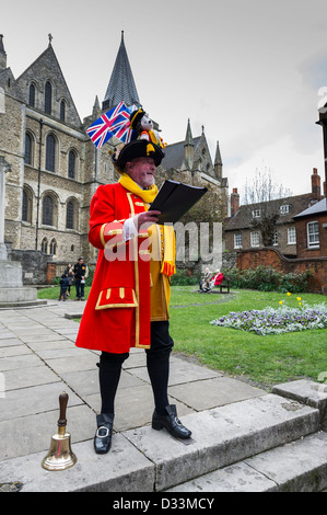 Town Crier of Rochester standing outside the cathedral, Rochester, Kent, UK - Stock Photo