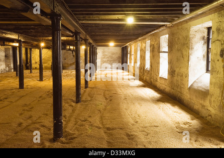 The malting room of a Scottish whisky distillery. - Stock Photo