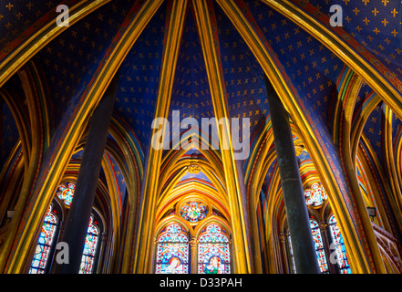 Celing of the lower level of the Saint Chapelle chapel in Paris, France - Stock Photo