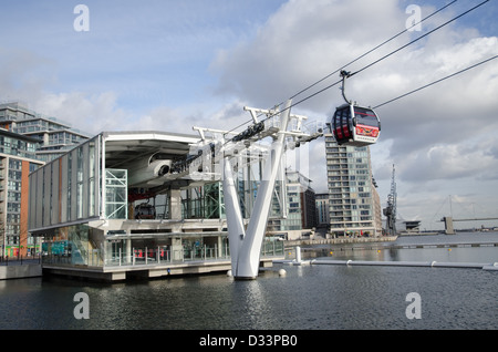 The Emirates Air-Line cable car station at Royal Docks in London's Docklands - Stock Photo