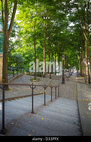 Stairs down from the Butte of Montmartre in Paris - Stock Photo