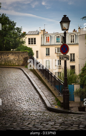 Alley on the butte of Montmartre in Paris, France - Stock Photo