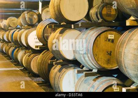 Barrels in a Scottish whisky distillery. - Stock Photo