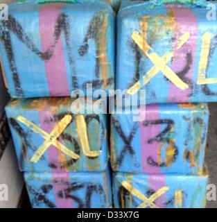 HANDOUT - An undated handout picture shows narcotic drugs in thge cargo area of a truck, whcih was loaded in Spain. - Stock Photo