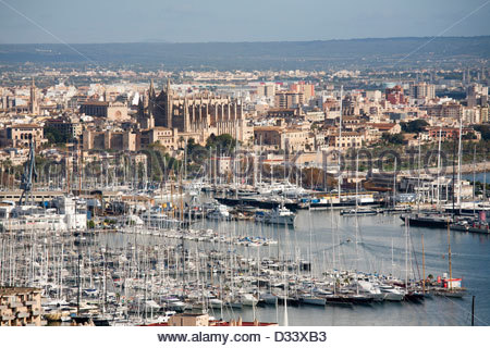 panoramic view from bellver castle,watchtower,palma de mallorca,spain - Stock Photo