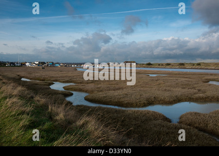 Tidal marshes at Rye Harbour, East Sussex - Stock Photo