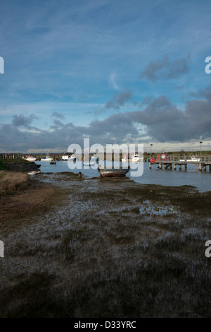 Fishing boats at Rye Harbour, East Sussex, England - Stock Photo