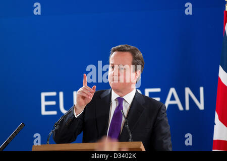 United Kingdom Prime Minister David Cameron speaking after the European Council meeting
