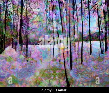 DIGITAL ART: Winter Wonderland (Yuletide at Bad Toelz/Bavaria) - Stock Photo