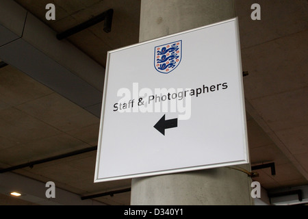 Staff and photographers directional sign at Wembley Stadium, London, England, UK - Stock Photo