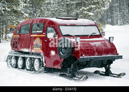 A red Bombadier snowbus in Yellowstone National Park, United States - Stock Photo