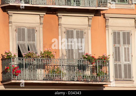 Balcony of building in the Old Port of seaside city of Nice Provence-Alpes-Côte d'Azur France - Stock Photo