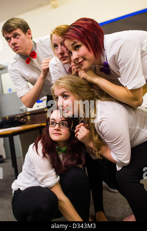 A group of 5 young Aberystwyth University drama and theatre studies students rehearsing a production of  Laura Wade's - Stock Photo