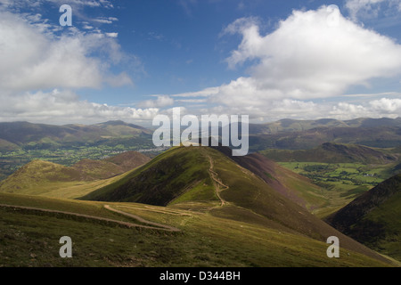 Scar Crags and Causey Pike from Sail in the Lake District - Stock Photo