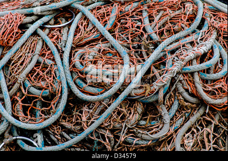 Charter and commercial fishing boats in the harbor, Homer, Alaska, USA. Detail of ropes and rigging. - Stock Photo