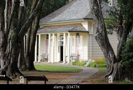 The treaty house at the Waitangi Treaty Grounds in Waitangi - Stock Photo