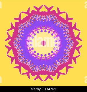 Artistic floral pattern in pink and violet on yellow - Stock Photo
