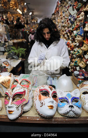Venice, Italy. 8th February 2013. During the Venice Carnival, almost every shop in Venice sells masks. Perhaps the - Stock Photo