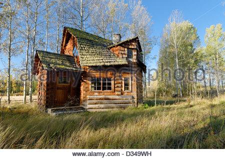Unique log cabin, 83 Mile House, Cariboo Region, British Columbia, Canada - Stock Photo