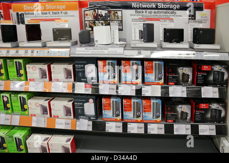 Desktop And Network Storage Hard Drives In Shop - Stock Photo