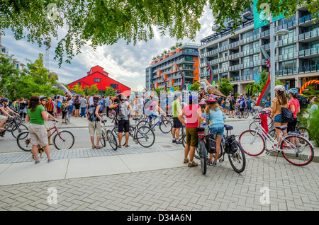 Moving Planet bicycles gathering and parade , Vancouver, Britsih Columbia, Canada - Stock Photo