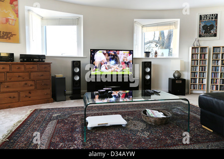 Modern Living Room With Flat Screen Television, Speakers And Glass Coffee  Table Cheltenham Gloucestershire England