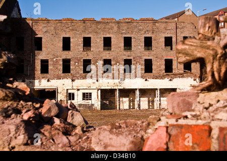 Empty and derelict the 1836 William Halley & Sons Ltd Jute Mill is a Listed Building in Dundee,UK - Stock Photo