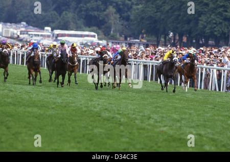 Horse race at Royal Ascot Meeting, Ascot Racecourse, Ascot, Berkshire, England, United Kingdom - Stock Photo