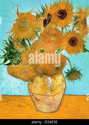 Vincent van Gogh, Still Life - Vase with Twelve Sunflowers. 1888. Post-Impressionism. Oil on canvas. - Stock Photo