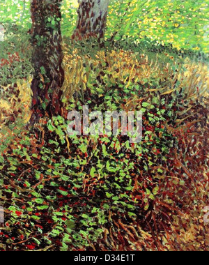 Vincent van Gogh: Undergrowth. 1887. Oil on canvas. Post-Impressionism. Place of Creation: Paris, France. - Stock Photo