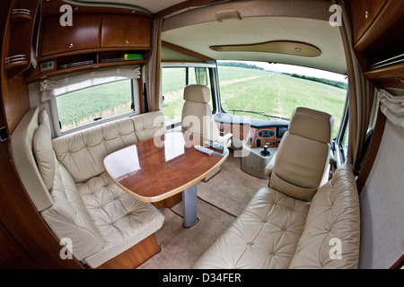 Delicieux ... Seating Area And Table In Concorde Luxury Motorhome Interior   Stock  Photo