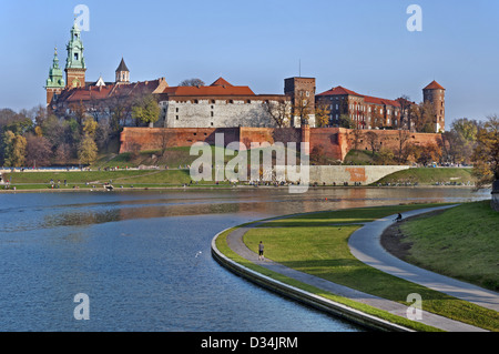 Historic royal Wawel Castle and Vistula river in Cracow, Poland - Stock Photo