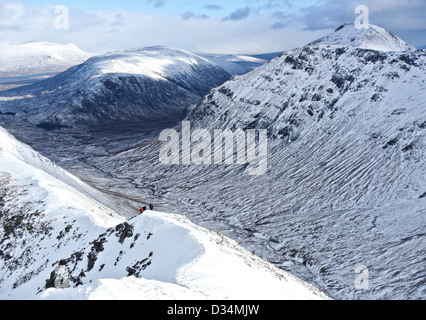Scottish mountain buachaille etive mor  from Buachaille Etive Beag  in Glencoe  in Scottish highlands, Scotland - Stock Photo