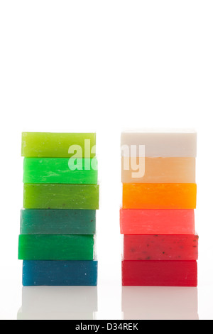 different handmade soaps isolated on white - Stock Photo