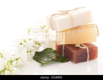 Handmade Soap closeup.Spa products - Stock Photo